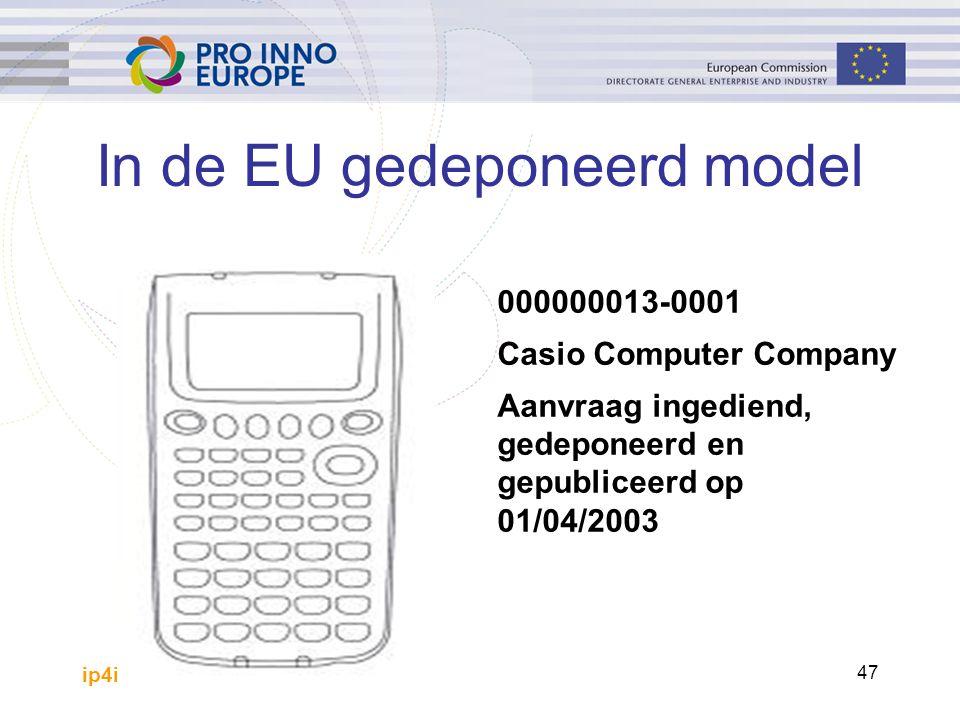 ip4inno 47 In de EU gedeponeerd model 000000013-0001 Casio Computer Company Aanvraag ingediend, gedeponeerd en gepubliceerd op 01/04/2003
