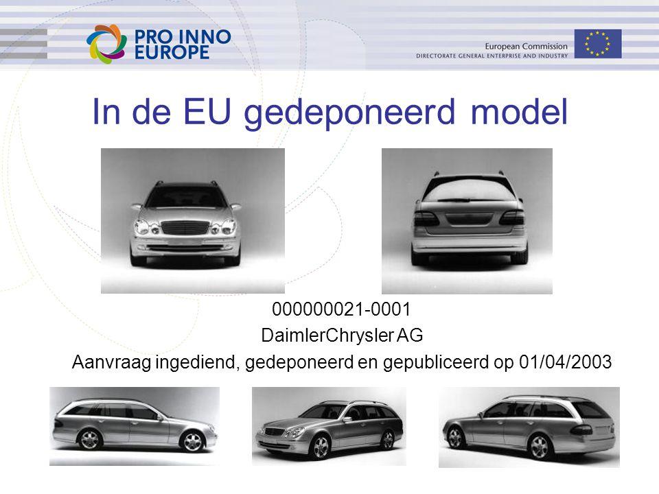 48 In de EU gedeponeerd model 000000021-0001 DaimlerChrysler AG Aanvraag ingediend, gedeponeerd en gepubliceerd op 01/04/2003