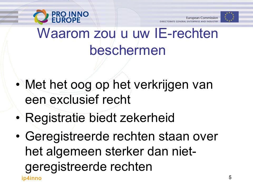 ip4inno 5 Waarom zou u uw IE-rechten beschermen Met het oog op het verkrijgen van een exclusief recht Registratie biedt zekerheid Geregistreerde rechten staan over het algemeen sterker dan niet- geregistreerde rechten