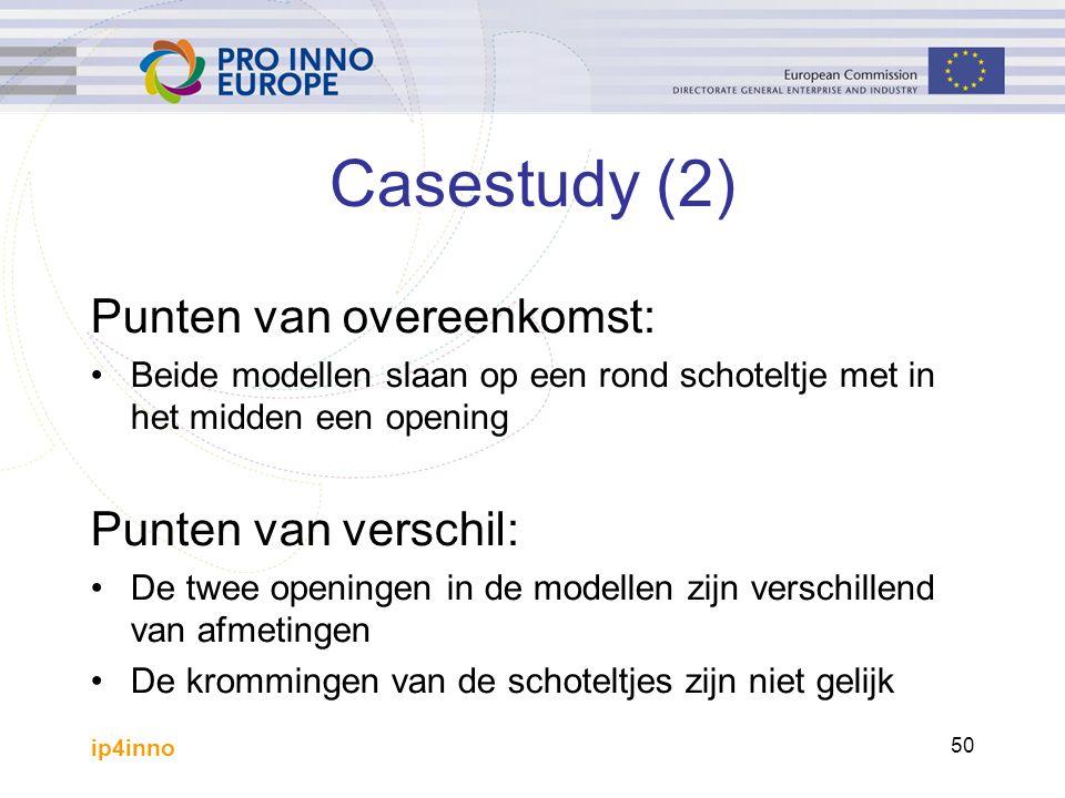 ip4inno 50 Casestudy (2) Punten van overeenkomst: Beide modellen slaan op een rond schoteltje met in het midden een opening Punten van verschil: De twee openingen in de modellen zijn verschillend van afmetingen De krommingen van de schoteltjes zijn niet gelijk