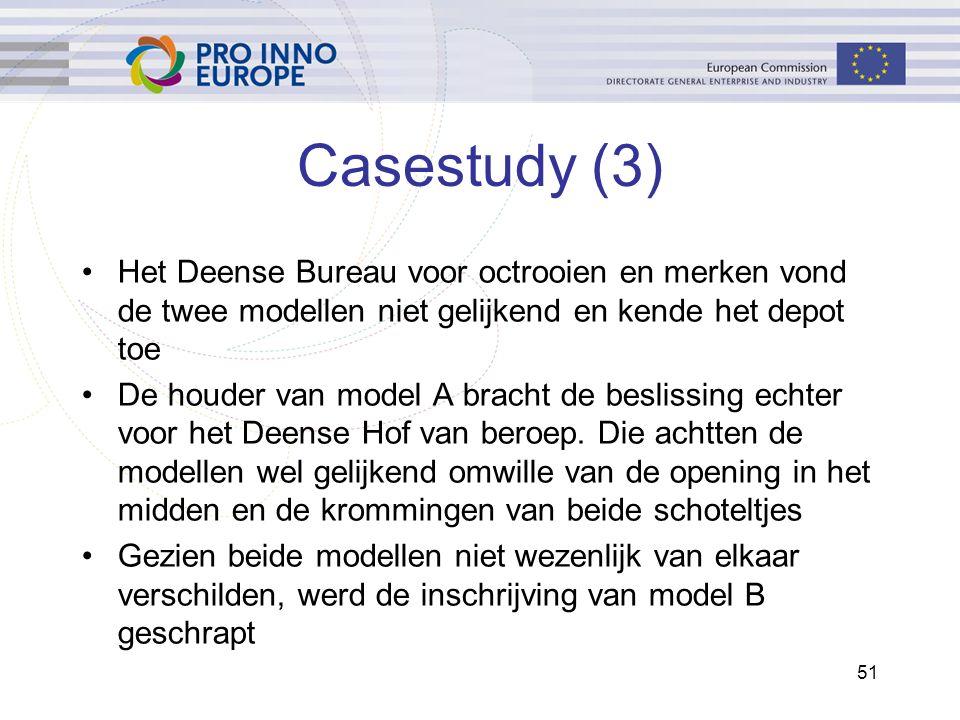 51 Casestudy (3) Het Deense Bureau voor octrooien en merken vond de twee modellen niet gelijkend en kende het depot toe De houder van model A bracht de beslissing echter voor het Deense Hof van beroep.