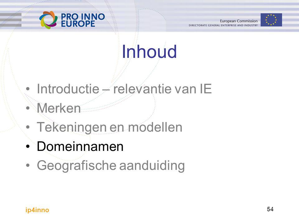 ip4inno 54 Inhoud Introductie – relevantie van IE Merken Tekeningen en modellen Domeinnamen Geografische aanduiding