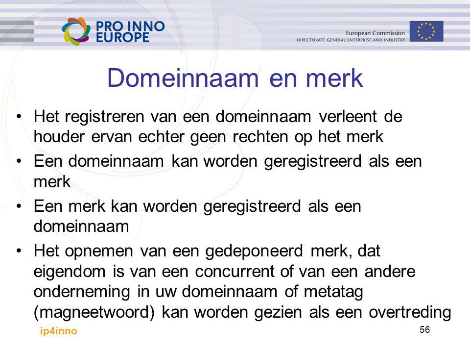 ip4inno 56 Domeinnaam en merk Het registreren van een domeinnaam verleent de houder ervan echter geen rechten op het merk Een domeinnaam kan worden ge