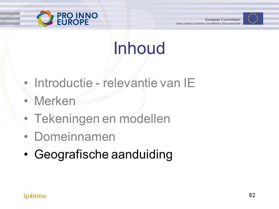 ip4inno 62 Inhoud Introductie - relevantie van IE Merken Tekeningen en modellen Domeinnamen Geografische aanduiding