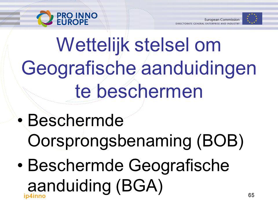 ip4inno 65 Beschermde Oorsprongsbenaming (BOB) Beschermde Geografische aanduiding (BGA) Wettelijk stelsel om Geografische aanduidingen te beschermen