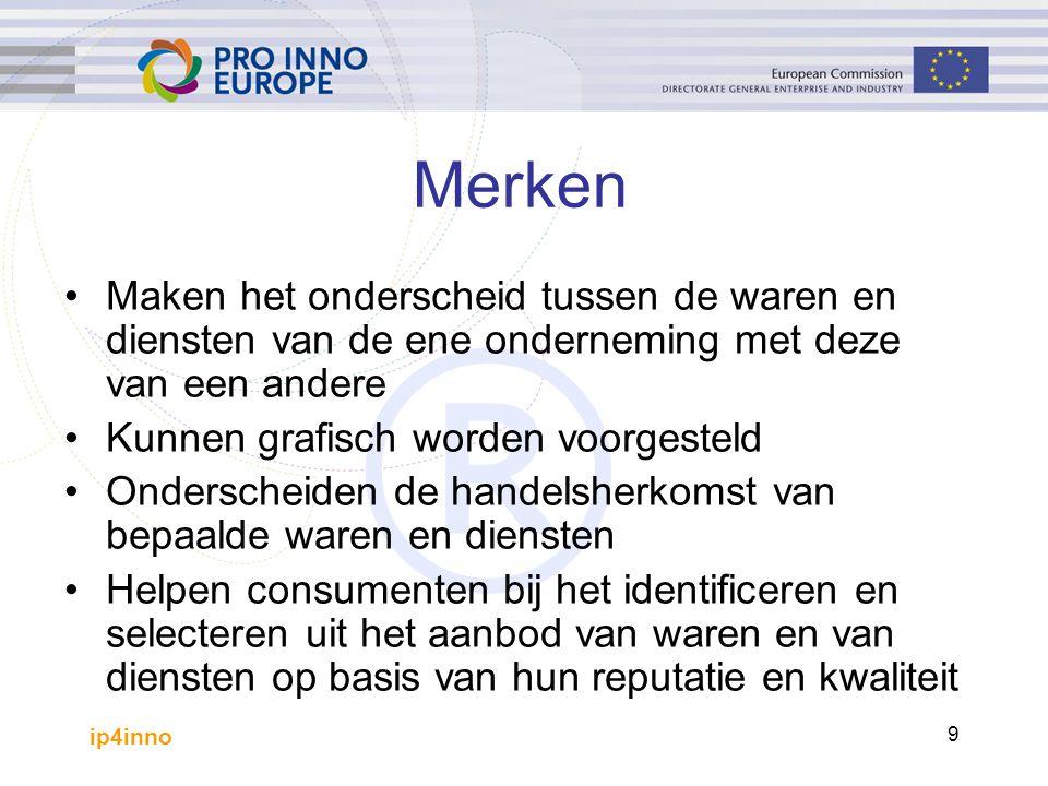 ip4inno 30 Drie opties voor bescherming Nationaal/Regionaal systeem: –Benelux -Bureau voor de Intellectuele Eigendom: geeft bescherming in de Benelux EU systeem: –BHIM: geeft bescherming in 27 lidstaten Internationaal systeem: –Protocol van Madrid: geeft bescherming in de landen die het protocol onderschreven