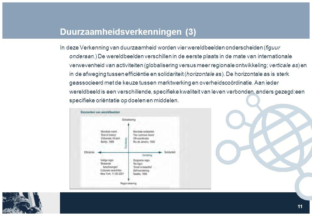 11 Duurzaamheidsverkenningen (3) In deze Verkenning van duurzaamheid worden vier wereldbeelden onderscheiden (figuur onderaan.) De wereldbeelden versc