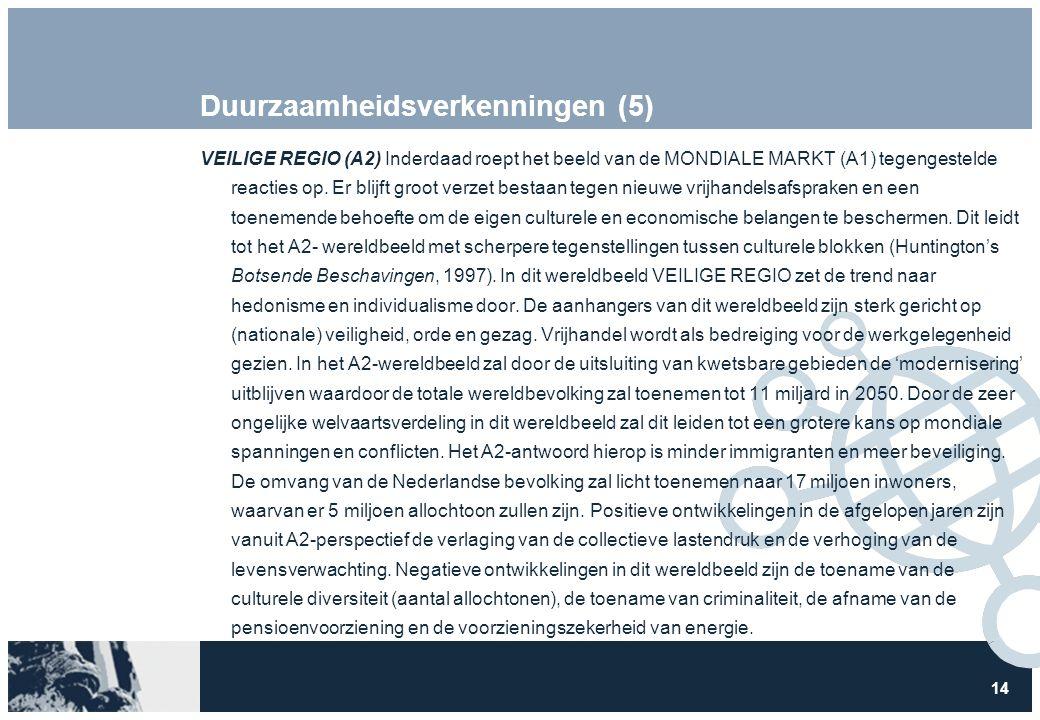 14 Duurzaamheidsverkenningen (5) VEILIGE REGIO (A2) Inderdaad roept het beeld van de MONDIALE MARKT (A1) tegengestelde reacties op. Er blijft groot ve