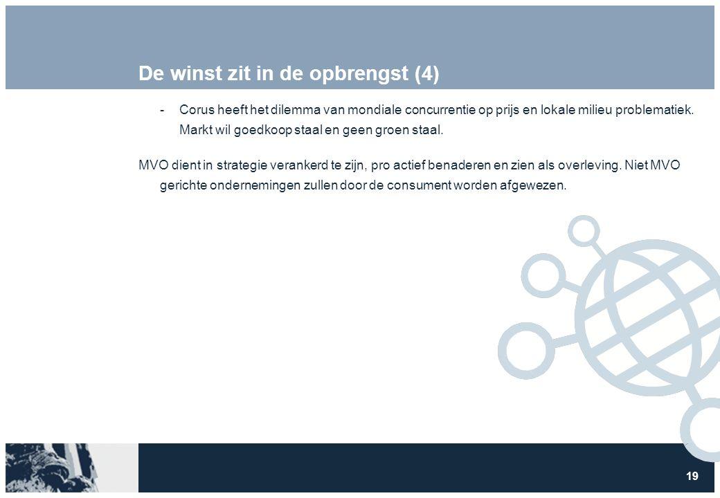 19 De winst zit in de opbrengst (4) Corus heeft het dilemma van mondiale concurrentie op prijs en lokale milieu problematiek.