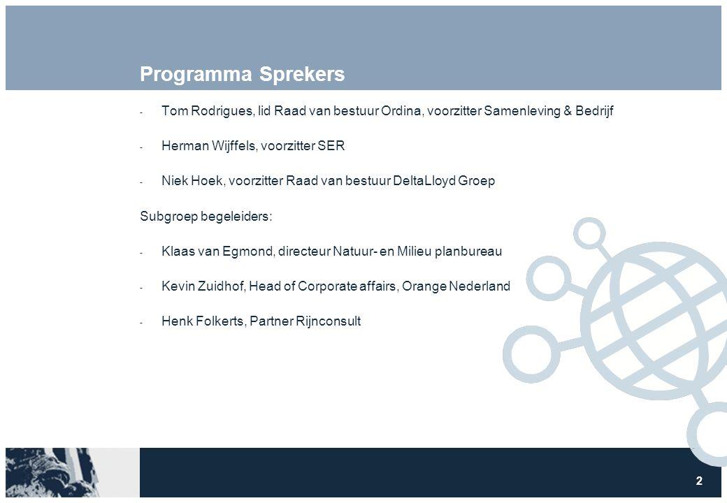 2 Programma Sprekers  Tom Rodrigues, lid Raad van bestuur Ordina, voorzitter Samenleving & Bedrijf  Herman Wijffels, voorzitter SER  Niek Hoek, voo
