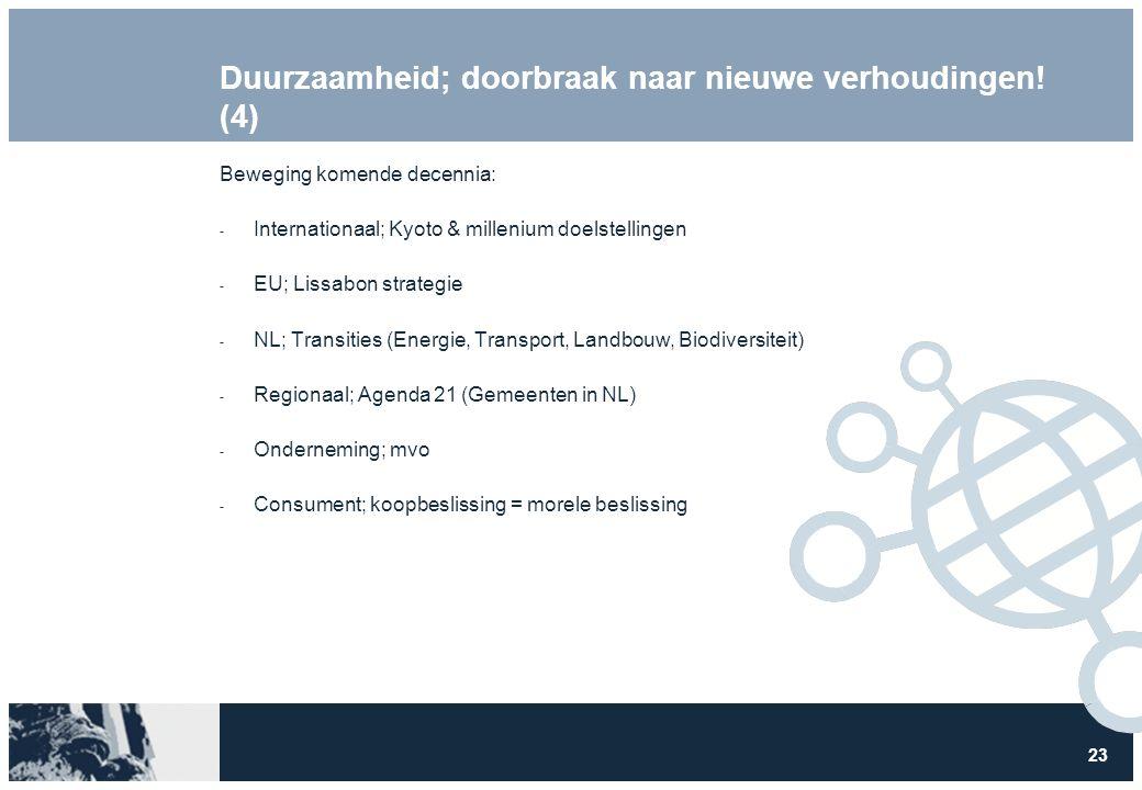 23 Duurzaamheid; doorbraak naar nieuwe verhoudingen! (4) Beweging komende decennia:  Internationaal; Kyoto & millenium doelstellingen  EU; Lissabon