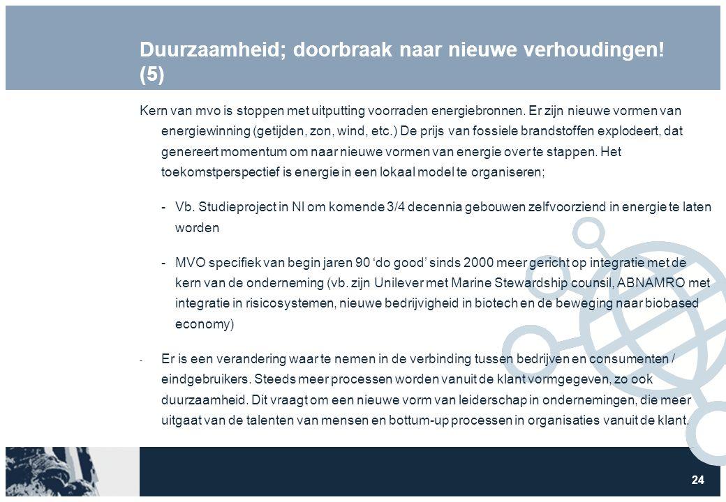 24 Duurzaamheid; doorbraak naar nieuwe verhoudingen! (5) Kern van mvo is stoppen met uitputting voorraden energiebronnen. Er zijn nieuwe vormen van en