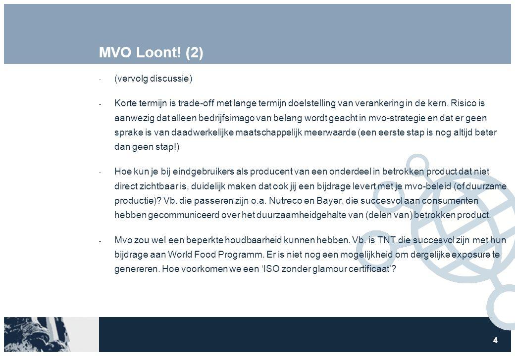 4 MVO Loont! (2)  (vervolg discussie)  Korte termijn is trade-off met lange termijn doelstelling van verankering in de kern. Risico is aanwezig dat