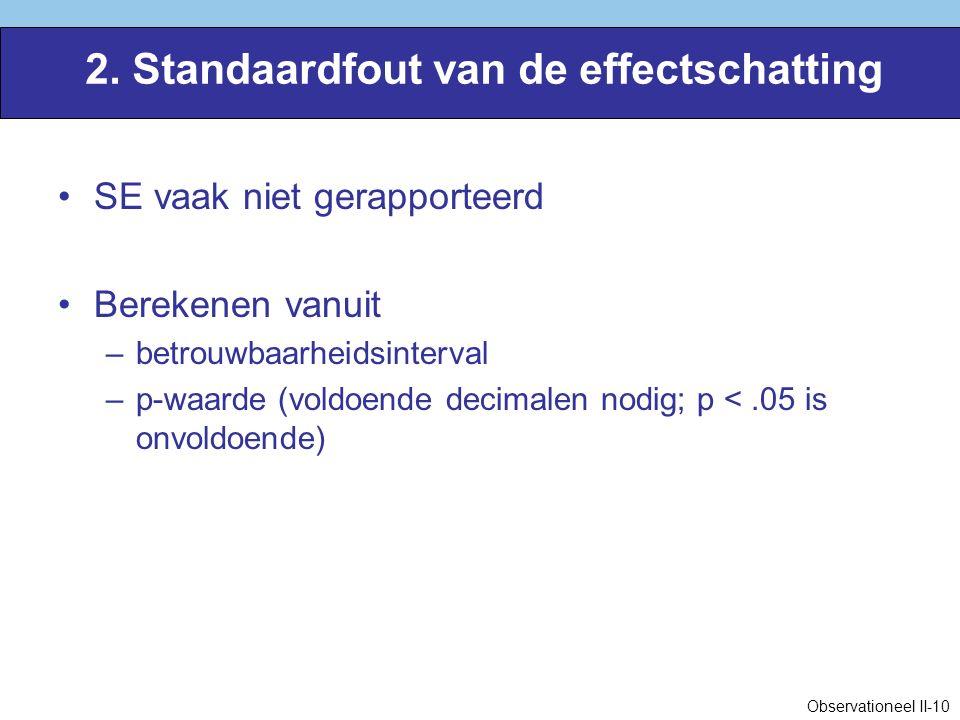 2. Standaardfout van de effectschatting SE vaak niet gerapporteerd Berekenen vanuit –betrouwbaarheidsinterval –p-waarde (voldoende decimalen nodig; p
