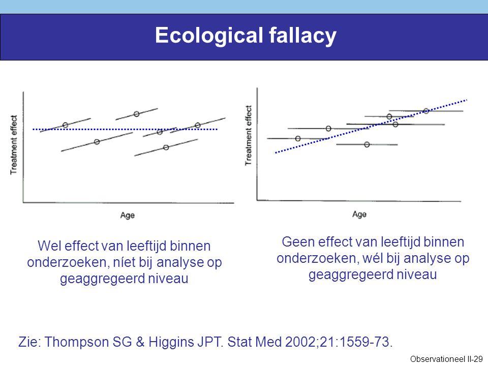 Ecological fallacy Wel effect van leeftijd binnen onderzoeken, níet bij analyse op geaggregeerd niveau Zie: Thompson SG & Higgins JPT.