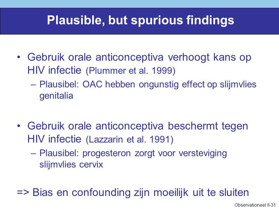 Plausible, but spurious findings Gebruik orale anticonceptiva verhoogt kans op HIV infectie (Plummer et al.