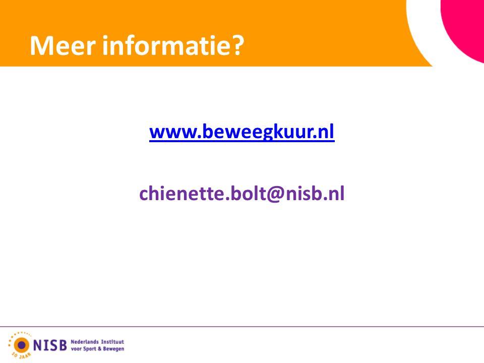 Meer informatie www.beweegkuur.nl chienette.bolt@nisb.nl