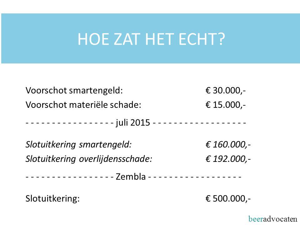 HOE ZAT HET ECHT? Voorschot smartengeld: € 30.000,- Voorschot materiële schade: € 15.000,- - - - - - - - - - - - - - - - - - juli 2015 - - - - - - - -