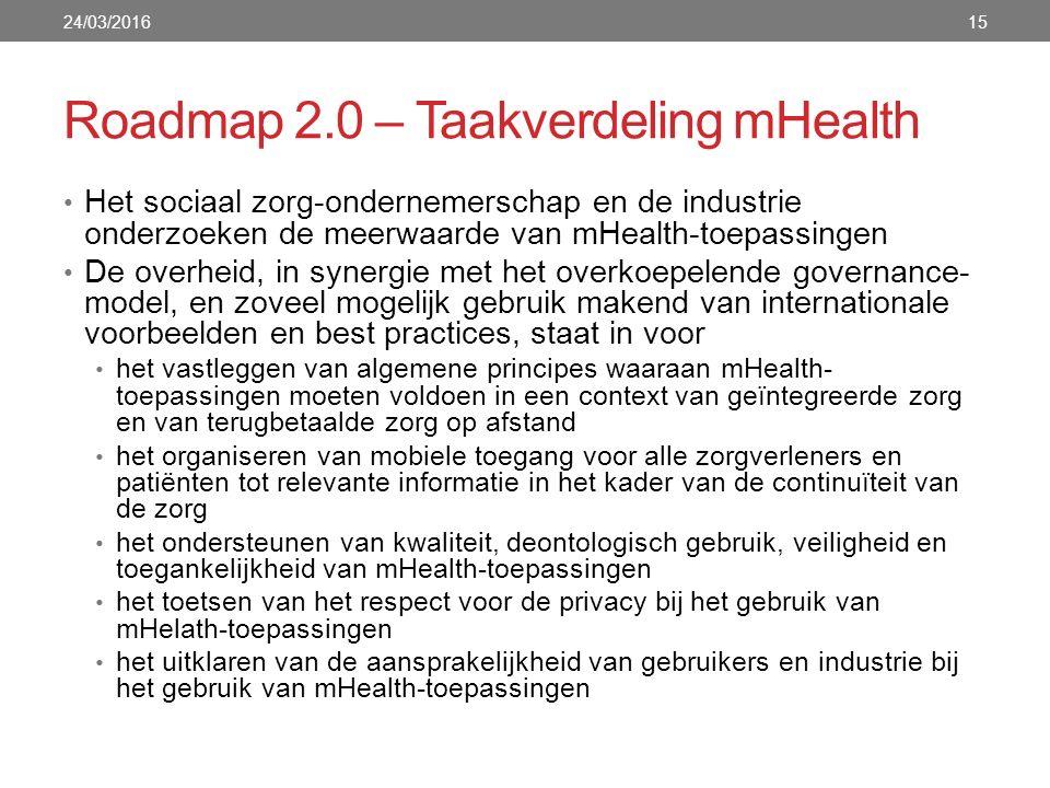 Roadmap 2.0 – Taakverdeling mHealth 24/03/201615 Het sociaal zorg-ondernemerschap en de industrie onderzoeken de meerwaarde van mHealth-toepassingen De overheid, in synergie met het overkoepelende governance- model, en zoveel mogelijk gebruik makend van internationale voorbeelden en best practices, staat in voor het vastleggen van algemene principes waaraan mHealth- toepassingen moeten voldoen in een context van geïntegreerde zorg en van terugbetaalde zorg op afstand het organiseren van mobiele toegang voor alle zorgverleners en patiënten tot relevante informatie in het kader van de continuïteit van de zorg het ondersteunen van kwaliteit, deontologisch gebruik, veiligheid en toegankelijkheid van mHealth-toepassingen het toetsen van het respect voor de privacy bij het gebruik van mHelath-toepassingen het uitklaren van de aansprakelijkheid van gebruikers en industrie bij het gebruik van mHealth-toepassingen