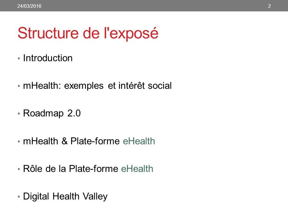 Structure de l exposé Introduction mHealth: exemples et intérêt social Roadmap 2.0 mHealth & Plate-forme eHealth Rôle de la Plate-forme eHealth Digital Health Valley 24/03/20162