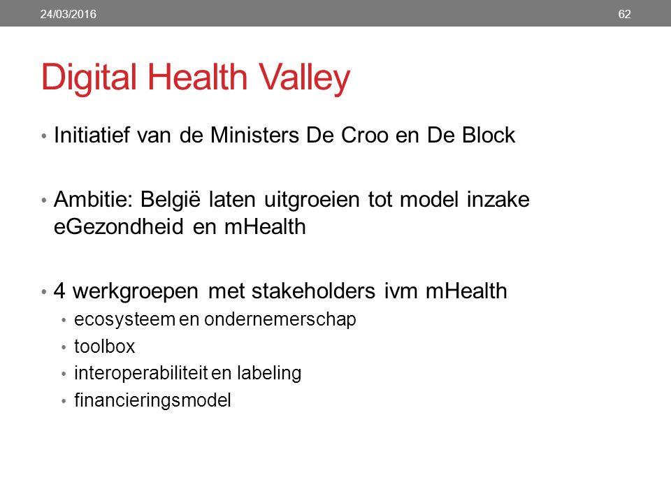 Digital Health Valley Initiatief van de Ministers De Croo en De Block Ambitie: België laten uitgroeien tot model inzake eGezondheid en mHealth 4 werkgroepen met stakeholders ivm mHealth ecosysteem en ondernemerschap toolbox interoperabiliteit en labeling financieringsmodel 24/03/201662