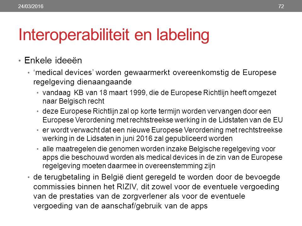 Interoperabiliteit en labeling Enkele ideeën 'medical devices' worden gewaarmerkt overeenkomstig de Europese regelgeving dienaangaande vandaag KB van 18 maart 1999, die de Europese Richtlijn heeft omgezet naar Belgisch recht deze Europese Richtlijn zal op korte termijn worden vervangen door een Europese Verordening met rechtstreekse werking in de Lidstaten van de EU er wordt verwacht dat een nieuwe Europese Verordening met rechtstreekse werking in de Lidsaten in juni 2016 zal gepubliceerd worden alle maatregelen die genomen worden inzake Belgische regelgeving voor apps die beschouwd worden als medical devices in de zin van de Europese regelgeving moeten daarmee in overeenstemming zijn de terugbetaling in België dient geregeld te worden door de bevoegde commissies binnen het RIZIV, dit zowel voor de eventuele vergoeding van de prestaties van de zorgverlener als voor de eventuele vergoeding van de aanschaf/gebruik van de apps 24/03/201672
