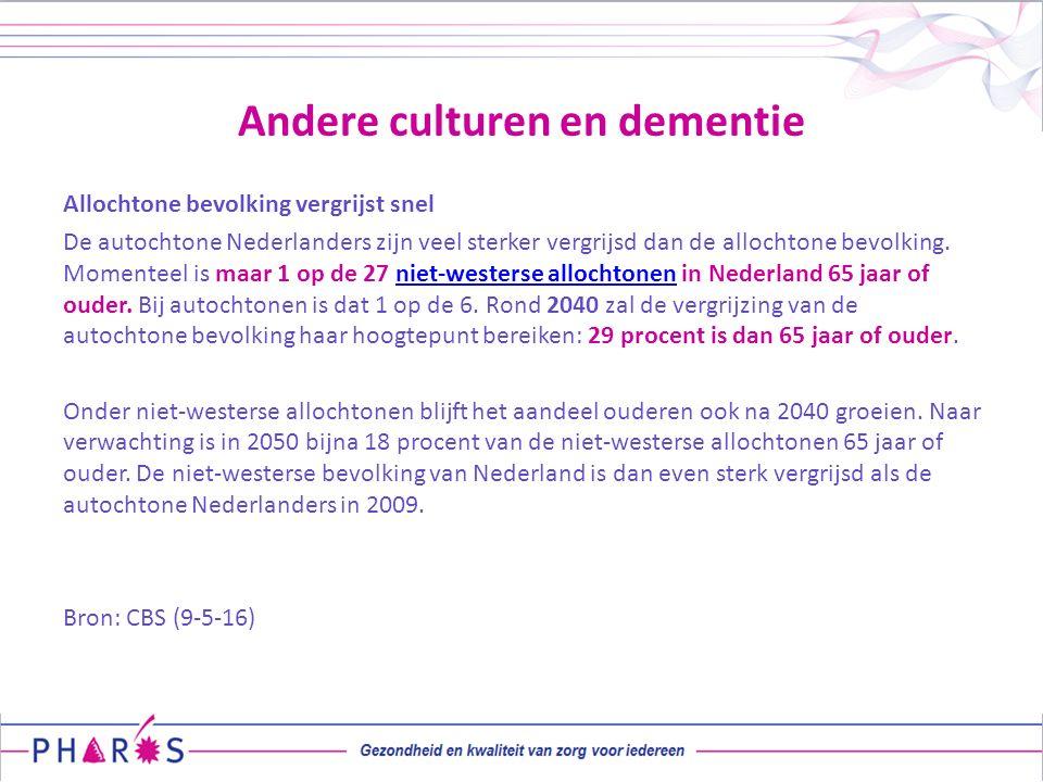 Andere culturen en dementie Allochtone bevolking vergrijst snel De autochtone Nederlanders zijn veel sterker vergrijsd dan de allochtone bevolking. Mo