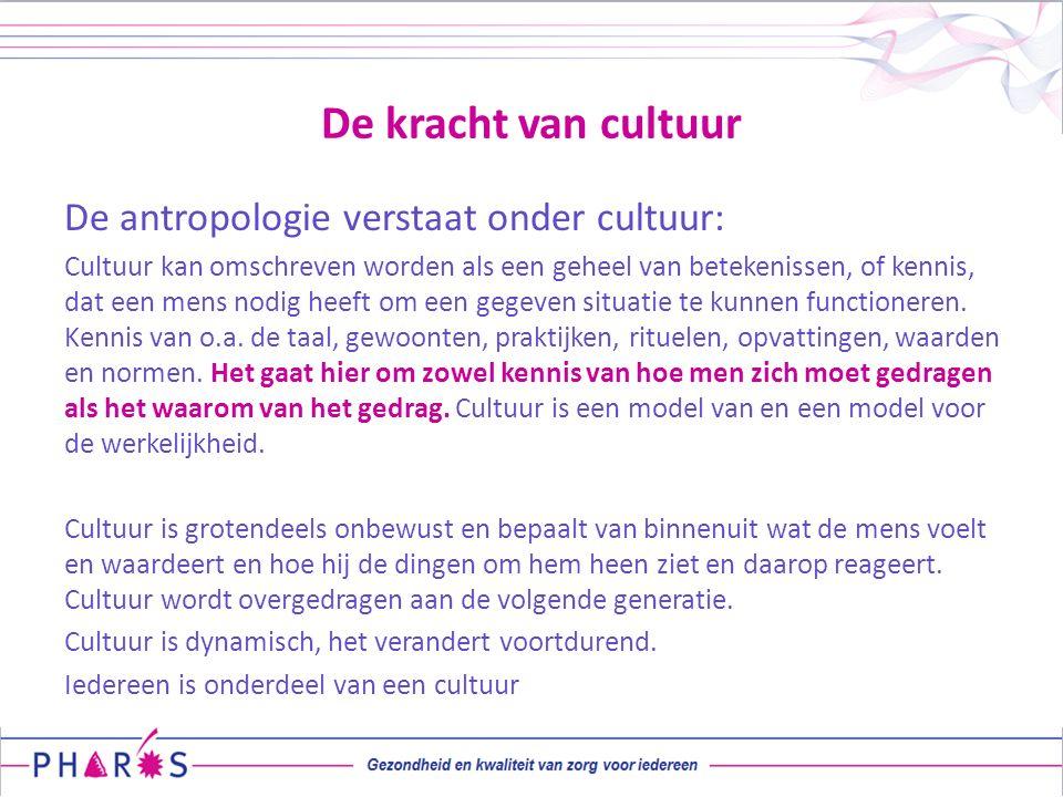 De kracht van cultuur De antropologie verstaat onder cultuur: Cultuur kan omschreven worden als een geheel van betekenissen, of kennis, dat een mens n