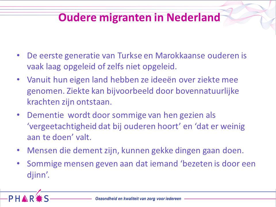 Oudere migranten in Nederland De eerste generatie van Turkse en Marokkaanse ouderen is vaak laag opgeleid of zelfs niet opgeleid. Vanuit hun eigen lan