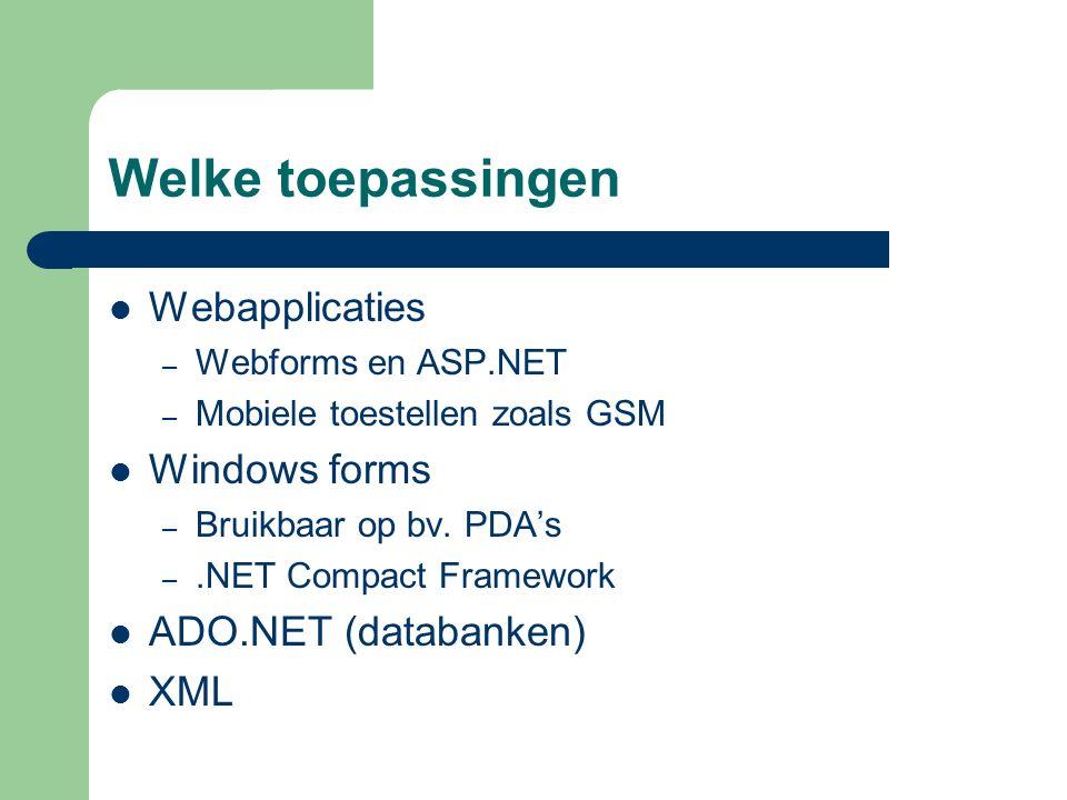Welke toepassingen Webapplicaties – Webforms en ASP.NET – Mobiele toestellen zoals GSM Windows forms – Bruikbaar op bv.