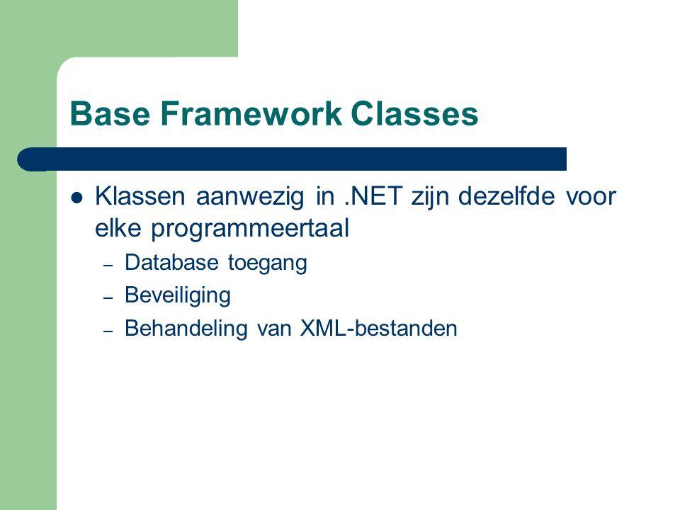 Base Framework Classes Klassen aanwezig in.NET zijn dezelfde voor elke programmeertaal – Database toegang – Beveiliging – Behandeling van XML-bestanden