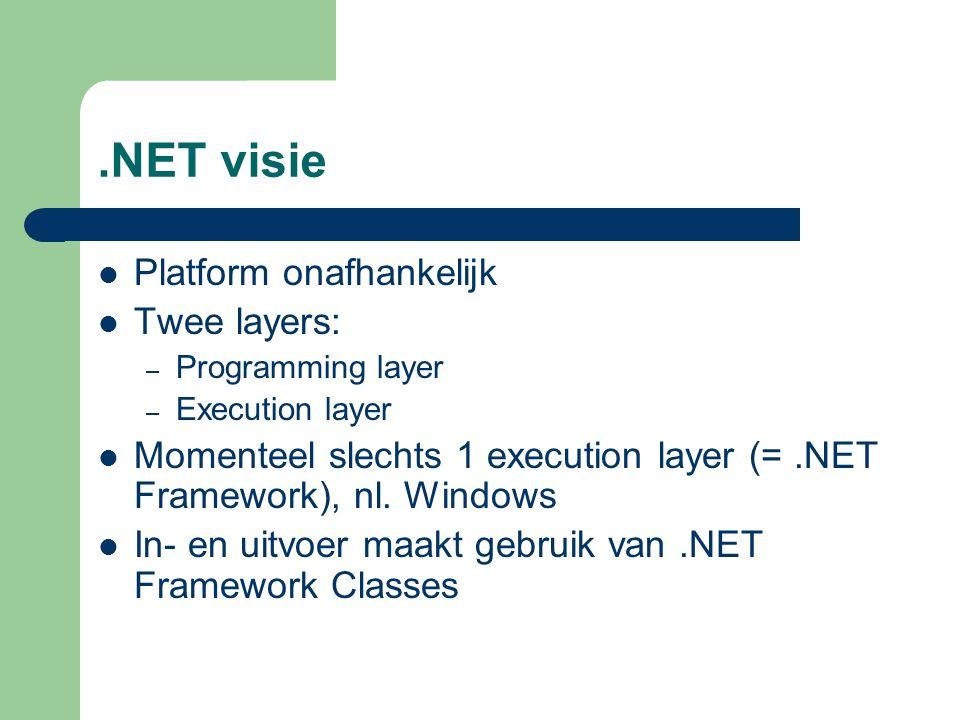 .NET Framework Verschillende versies – 1.0  Visual Studio.NET 2002 – 1.1  Visual Studio.NET 2003 – 2.0  Visual Studio.NET 2005 – 3.0  – 3.5  Visual Studio.NET 2008 – 4.0  Visual Studio.NET 2010 Kunnen perfect naast mekaar geïnstalleerd worden
