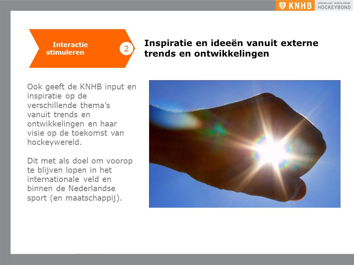 Uitgave mei '16 ©KNHB Inspiratie en ideeën vanuit externe trends en ontwikkelingen Ook geeft de KNHB input en inspiratie op de verschillende thema's vanuit trends en ontwikkelingen en haar visie op de toekomst van hockeywereld.