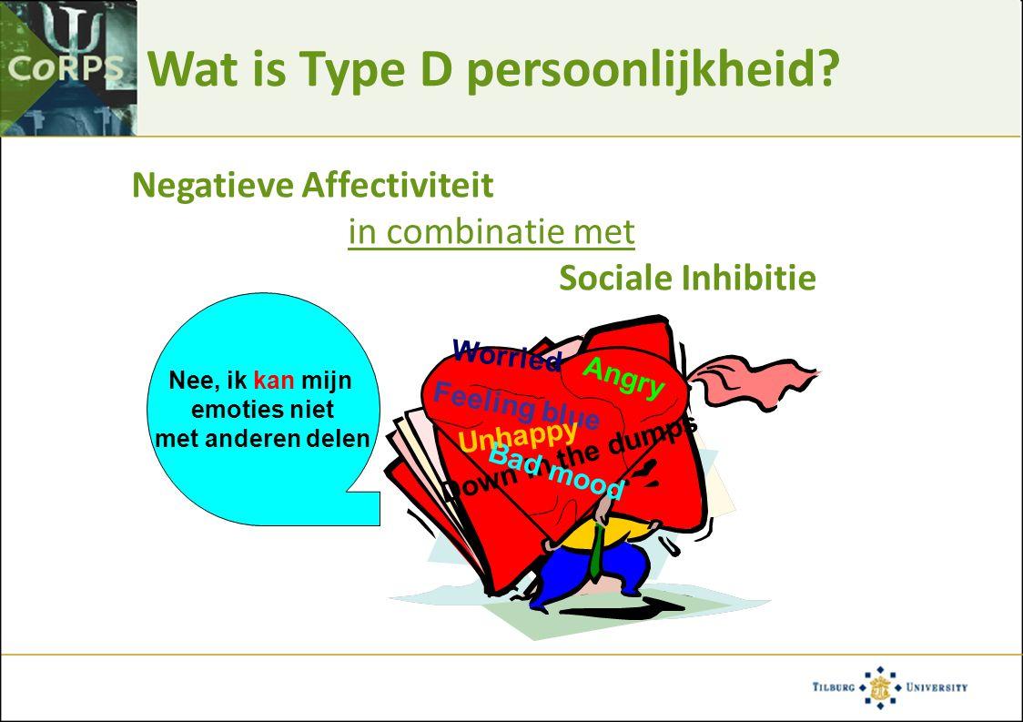 Type D en angst en depressie p <.001 Pedersen et al, Psychosom Med 2004;66:714-719