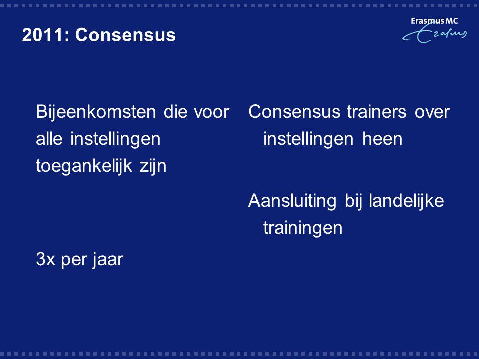 2011: Consensus  Bijeenkomsten die voor alle instellingen toegankelijk zijn  3x per jaar Consensus trainers over instellingen heen Aansluiting bij landelijke trainingen