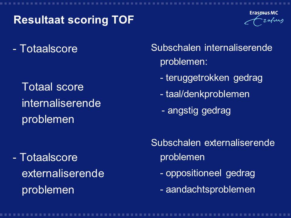 Resultaat scoring TOF - Totaalscore -Totaal score internaliserende problemen - Totaalscore externaliserende problemen Subschalen internaliserende problemen:  - teruggetrokken gedrag  - taal/denkproblemen - angstig gedrag Subschalen externaliserende problemen  - oppositioneel gedrag  - aandachtsproblemen