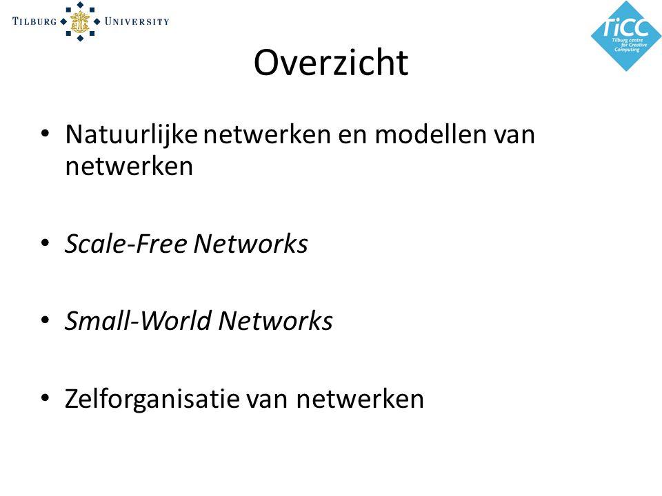 Overzicht Natuurlijke netwerken en modellen van netwerken Scale-Free Networks Small-World Networks Zelforganisatie van netwerken