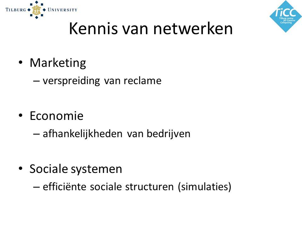 Kennis van netwerken Marketing – verspreiding van reclame Economie – afhankelijkheden van bedrijven Sociale systemen – efficiënte sociale structuren (simulaties)