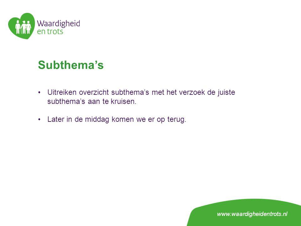 Subthema's Uitreiken overzicht subthema's met het verzoek de juiste subthema's aan te kruisen.