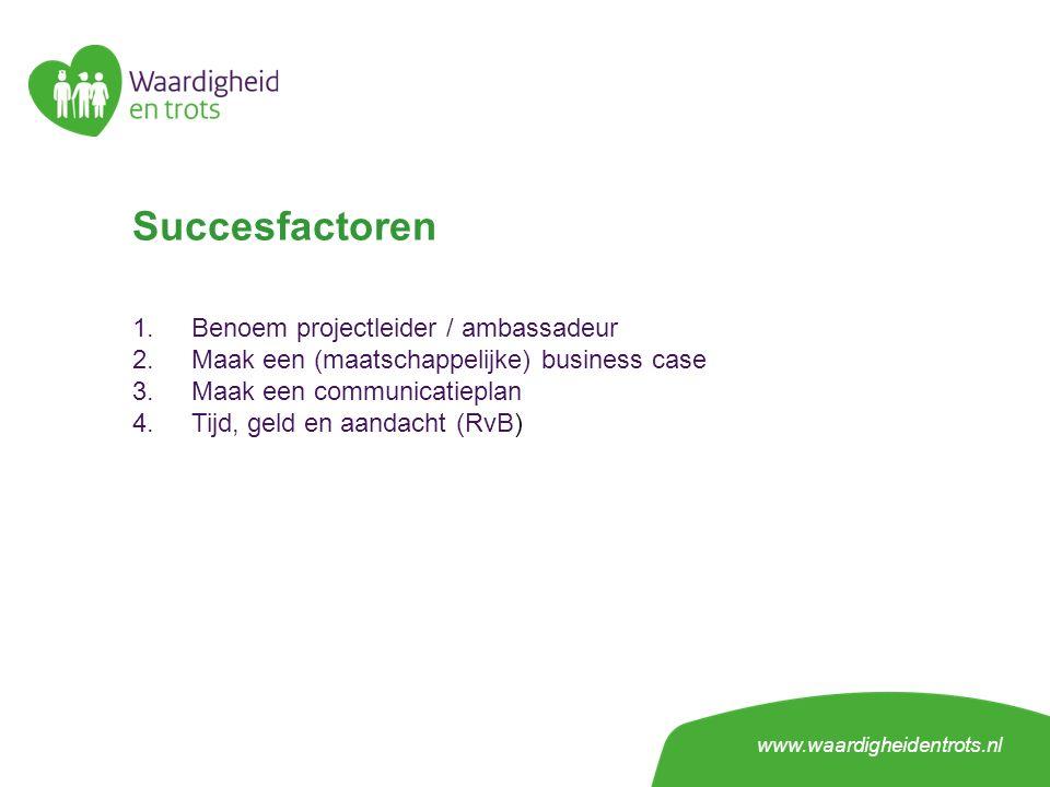 Succesfactoren 1.Benoem projectleider / ambassadeur 2.Maak een (maatschappelijke) business case 3.Maak een communicatieplan 4.Tijd, geld en aandacht (RvB) www.waardigheidentrots.nl