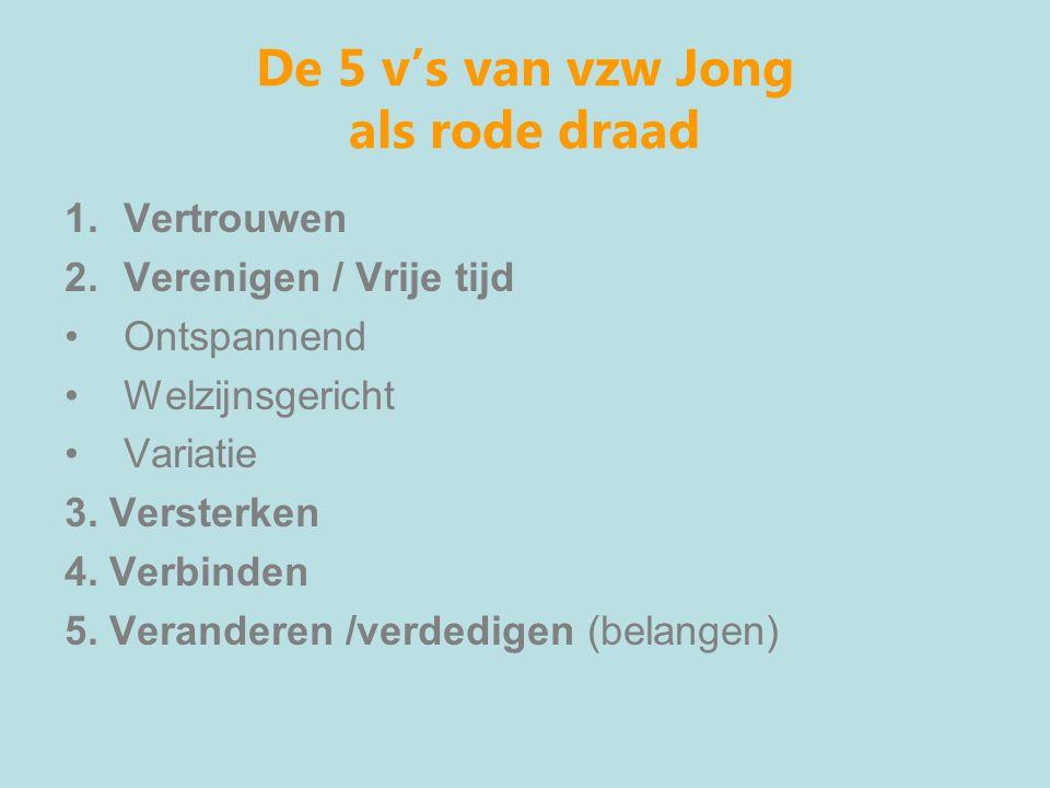 De 5 v's van vzw Jong als rode draad 1.Vertrouwen 2.Verenigen / Vrije tijd Ontspannend Welzijnsgericht Variatie 3.