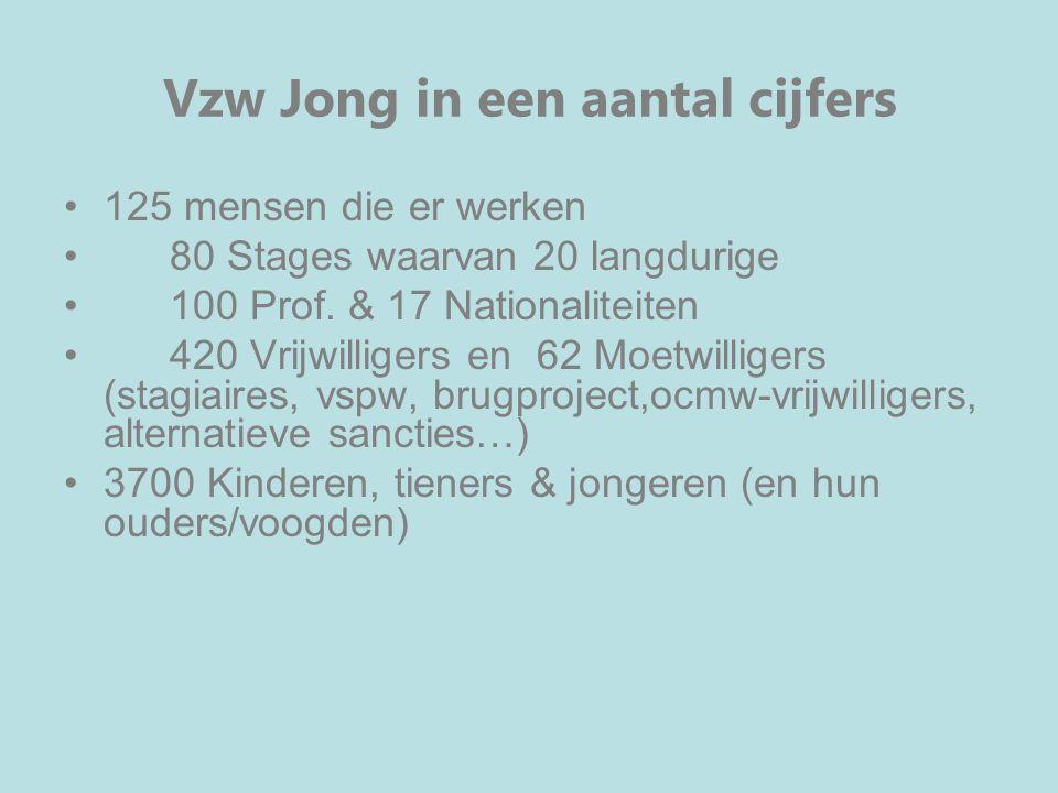 Vzw Jong in een aantal cijfers 125 mensen die er werken 80 Stages waarvan 20 langdurige 100 Prof. & 17 Nationaliteiten 420 Vrijwilligers en 62 Moetwil