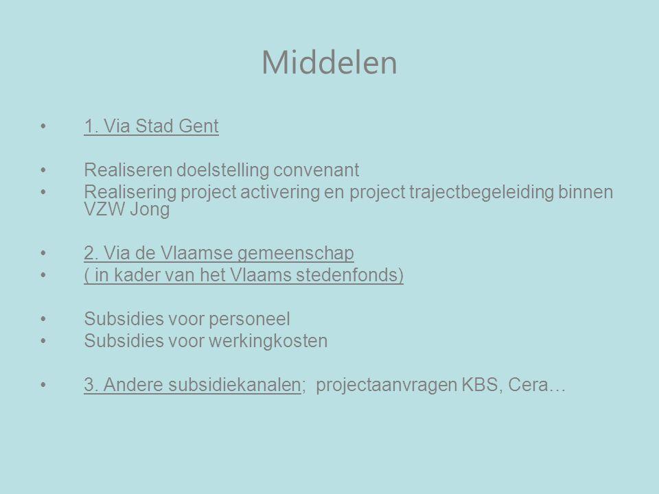 Middelen 1. Via Stad Gent Realiseren doelstelling convenant Realisering project activering en project trajectbegeleiding binnen VZW Jong 2. Via de Vla