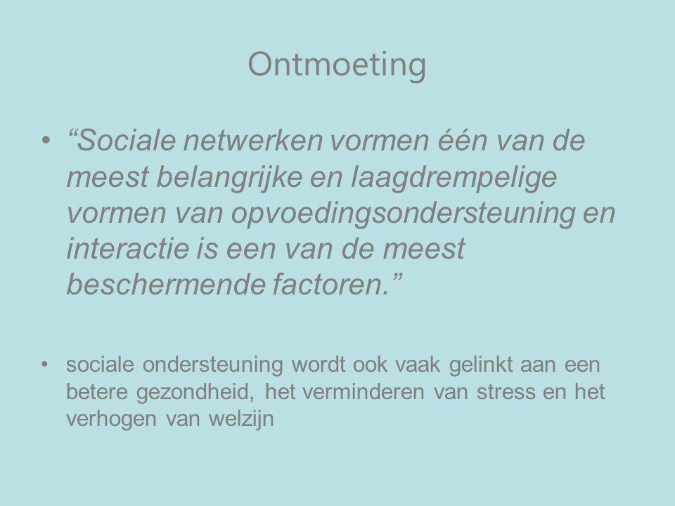 Ontmoeting Sociale netwerken vormen één van de meest belangrijke en laagdrempelige vormen van opvoedingsondersteuning en interactie is een van de meest beschermende factoren. sociale ondersteuning wordt ook vaak gelinkt aan een betere gezondheid, het verminderen van stress en het verhogen van welzijn