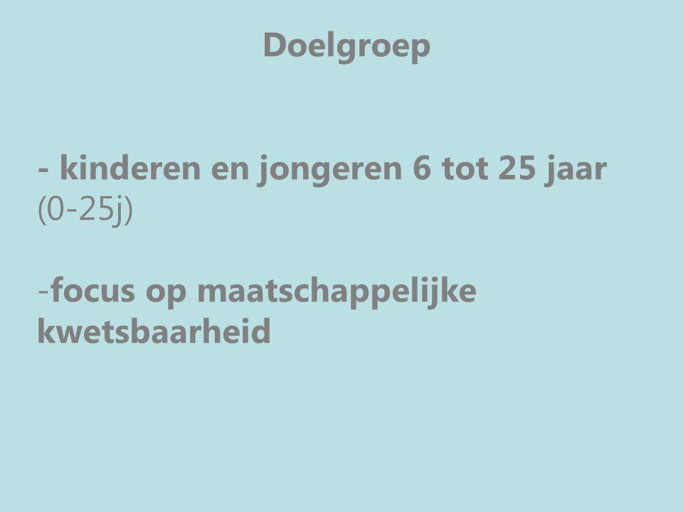 Doelgroep -maatschappelijk kwetsbare kinderen en jongeren -Focus op maatschappelijke kwetsbaarheid -19 e eeuwse gordel rond Gent