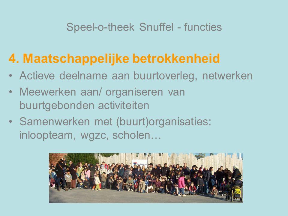 Speel-o-theek Snuffel - functies 4. Maatschappelijke betrokkenheid Actieve deelname aan buurtoverleg, netwerken Meewerken aan/ organiseren van buurtge