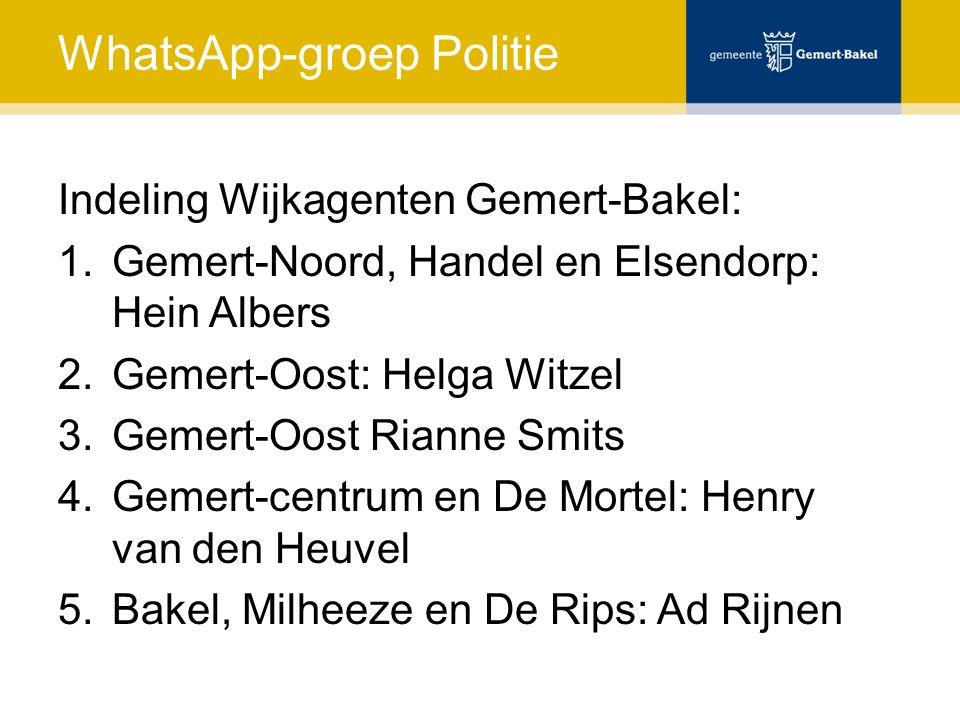 WhatsApp-groep Politie Indeling Wijkagenten Gemert-Bakel: 1.Gemert-Noord, Handel en Elsendorp: Hein Albers 2.Gemert-Oost: Helga Witzel 3.Gemert-Oost R