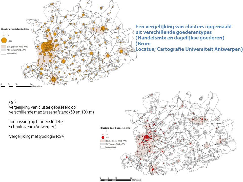 Een vergelijking van clusters opgemaakt uit verschillende goederentypes (Handelsmix en dagelijkse goederen) (Bron: Locatus; Cartografie Universiteit Antwerpen) Ook: vergelijking van cluster gebaseerd op verschillende max tussenafstand (50 en 100 m) Toepassing op binnenstedelijk schaalniveau (Antwerpen) Vergelijking met typologie RSV