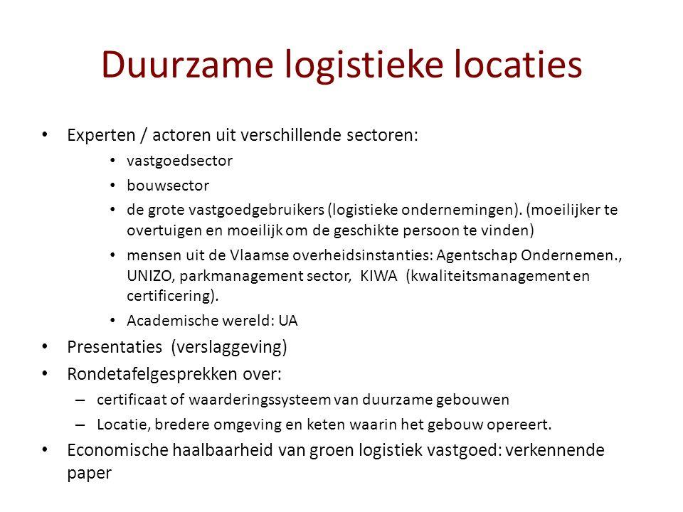 Duurzame logistieke locaties Experten / actoren uit verschillende sectoren: vastgoedsector bouwsector de grote vastgoedgebruikers (logistieke ondernemingen).