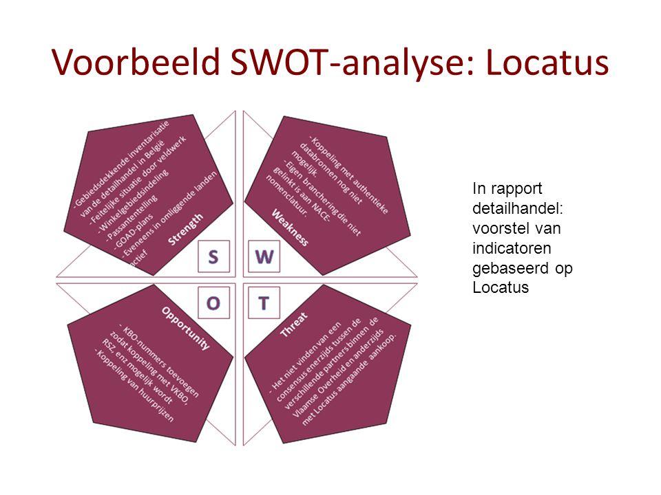 Voorbeeld SWOT-analyse: Locatus In rapport detailhandel: voorstel van indicatoren gebaseerd op Locatus